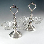 Pair Antique French Sterling Silver & Glass Double Open Salt Caddy, Scalloped Shells
