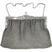 Large Antique French .800 Silver Chain Mail Mesh Lady's Purse / Evening Hand Bag