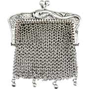 Antique French .800 Silver Chain Mail Mesh Lady's Chatelaine Purse, Figural Lizard Handle