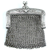 Art Nouveau Antique French .800 Silver Chain Mail Mesh Chatelaine Purse, Shell Motif