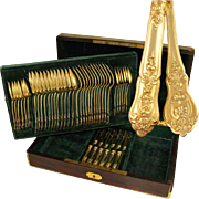 48pc Antique French Sterling Silver Gilt Vermeil Napoleon III Empire Flatware Service, Set for 12, Inlaid Wooden Chest