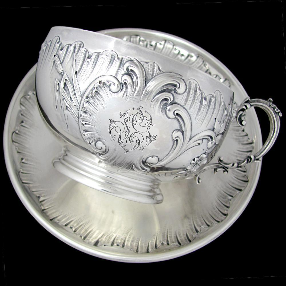Large Antique French Sterling Silver Repousse Chocolate, Tea / Coffee, Cup & Saucer Set, 309g