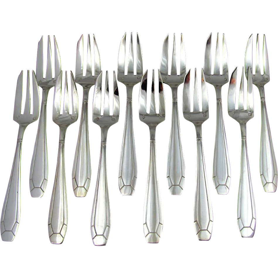 12pc Art Deco French Sterling Silver Cake / Dessert Forks Set