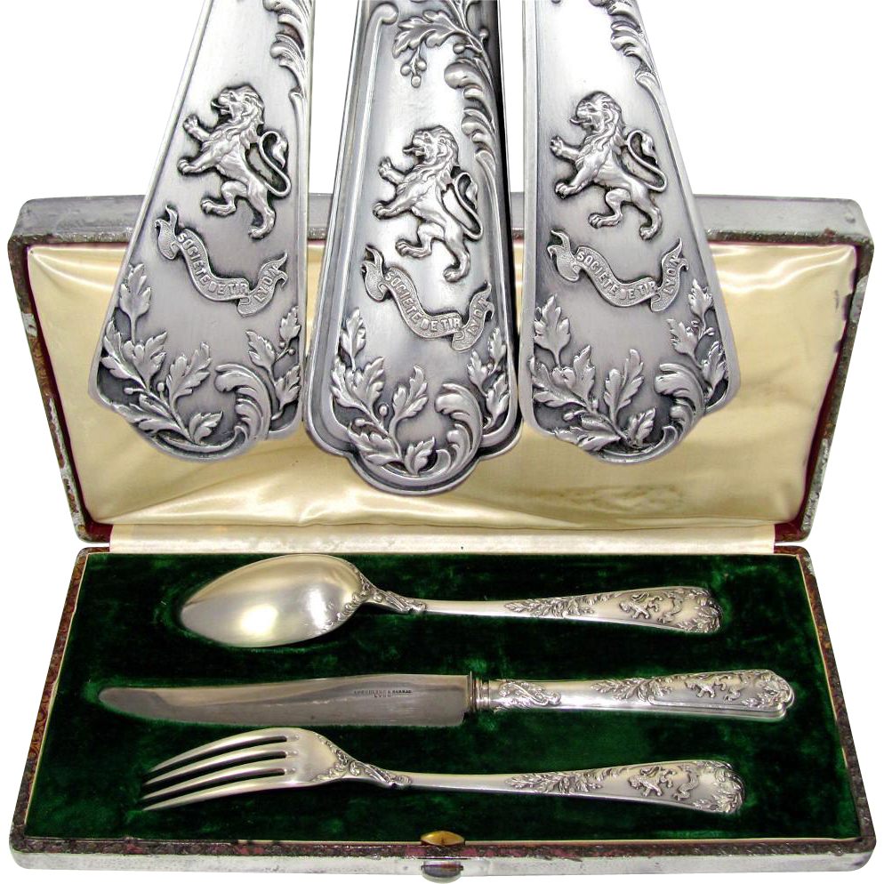 PUIFORCAT Antique French Sterling Silver 3pc Traveler's Dinner Flatware Set, Louis XV Decoration