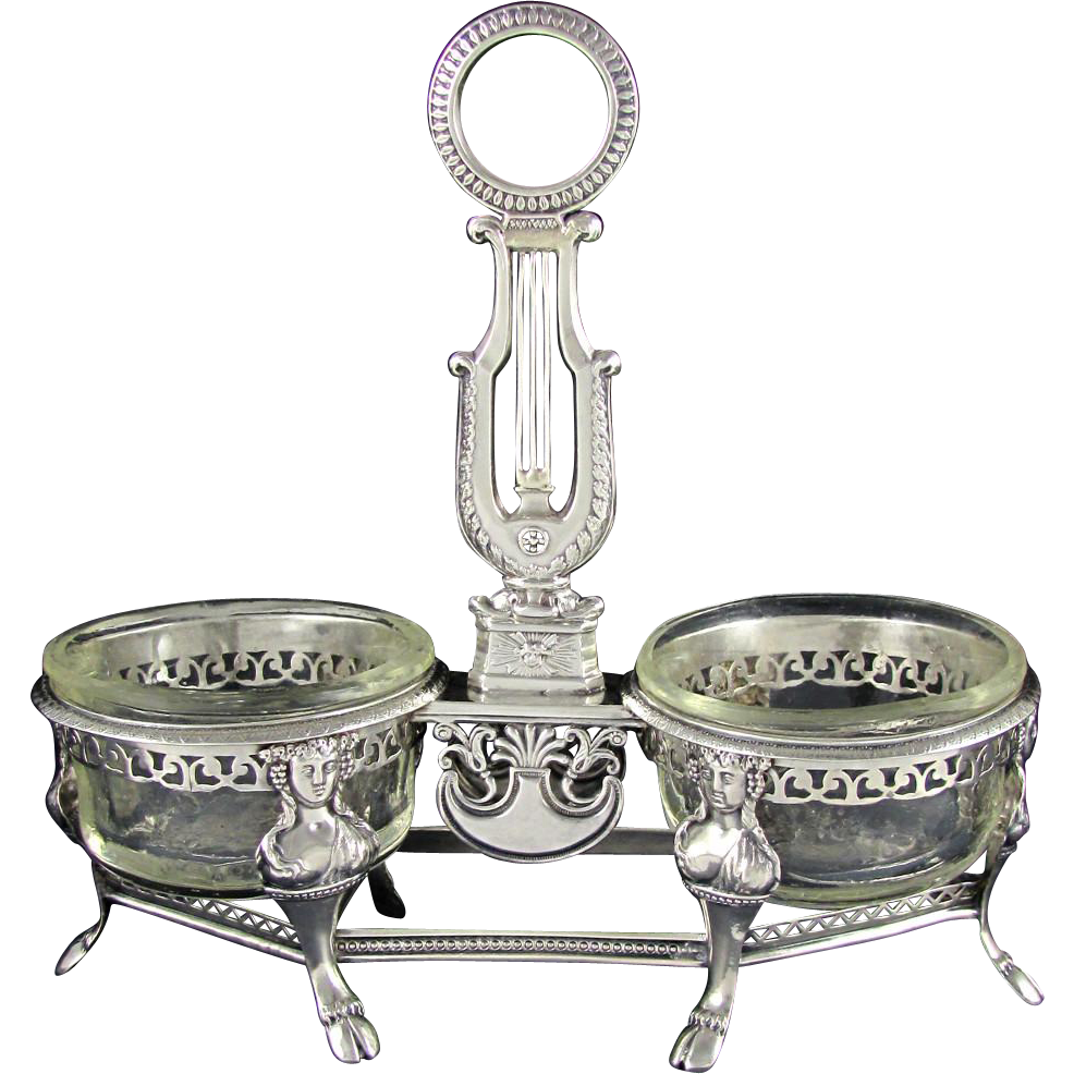 Antique French Sterling Silver Empire Figural Grand Double Salt Cellar, Ambroise Mignerot