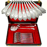 14pc Antique French Sterling Silver Dessert / Tea Set, Sugar Tongs & Sifter