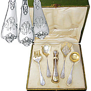 Ornate Antique French Sterling Silver Gilt Vermeil 5pc Hors d'Oeuvres Servers