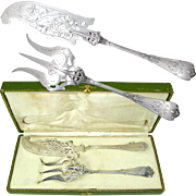 Ornate Antique French Sterling Silver Neo Gothic Fish Serving Set, Fork & Knife