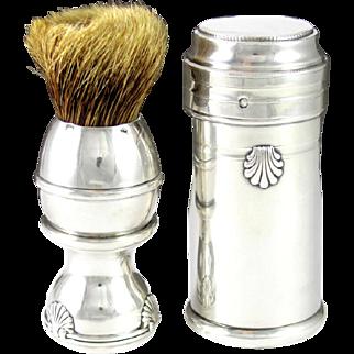 Antique French Sterling Silver Gentleman's Shaving Brush & Case, Seashell Motif