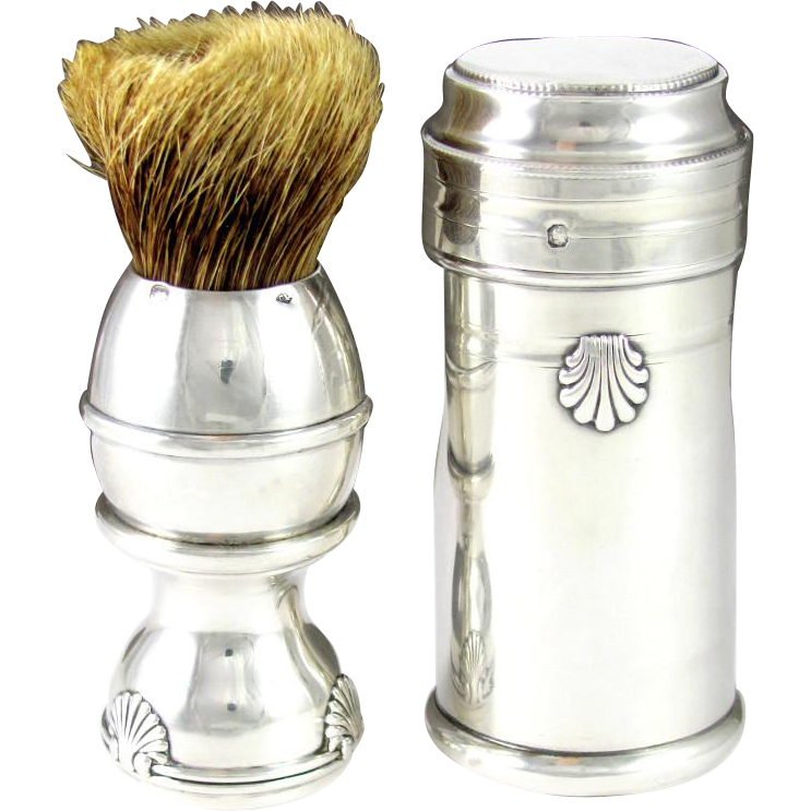 Antique French Sterling Silver Gentleman's Shaving Brush & Case, Seashell Motif