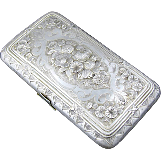Ornate Antique French .800 Silver Floral Repousse Cheroot / Cigar Case