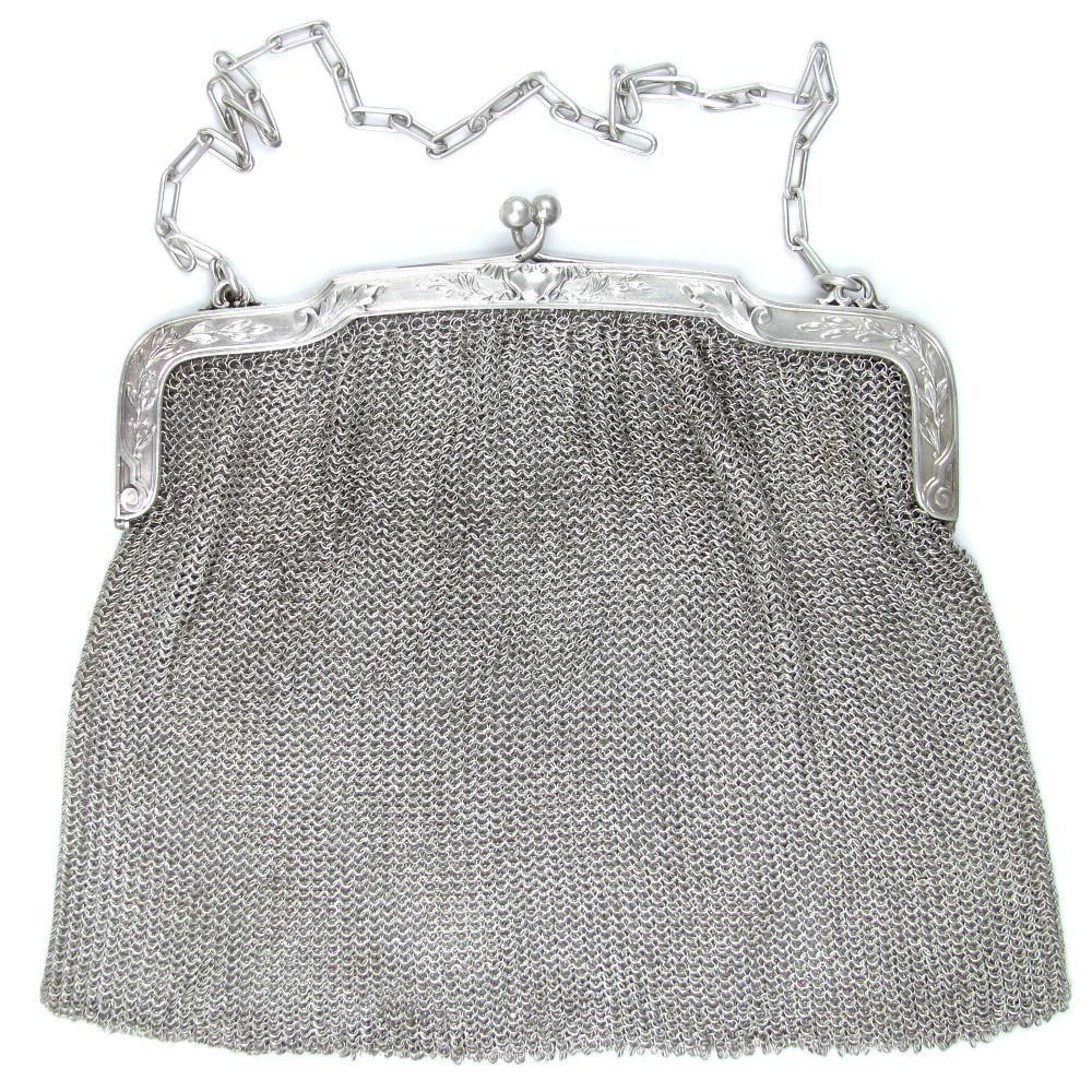 Antique French .800 Silver Lady's Evening Purse / Hand Bag, Chain Mail Mesh Links