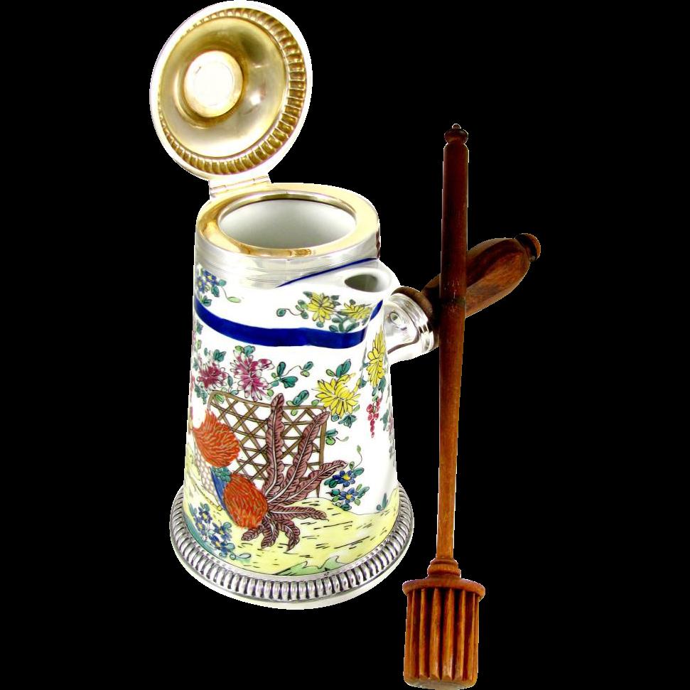 French Sterling Silver PUIFORCAT & Hand Painted Samson Porcelain de Paris Chocolate Pot