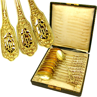 12 Antique French Sterling Silver Gilt Vermeil Renaissance Pattern Pierce-work Coffee / Tea Spoons, Figural Mascarons