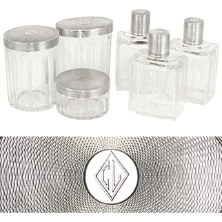 6pc French Sterling Silver Cut Crystal Perfume Bottle & Powder Jars / Box Vanity Dresser Set