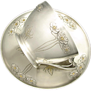 Large Antique Art Nouveau French Sterling Silver Gilt Vermeil Repousse Chocolate, Tea / Coffee, Cup & Saucer Set, 333.7g