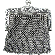 Antique Art Nouveau French .800 Silver Chain Mail Mesh Lady's Chatelaine Purse, Mistletoe Decoration