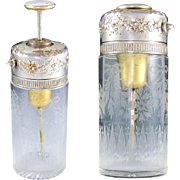 Antique French Sterling Silver Hallmarked Scent Perfume Bottle Tonnel PARIS Traveling Piston Atomizer, Engraved Cut Crystal