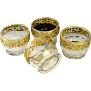 Antique French Sterling Silver & Cut Crystal Open Salt Cellars Set, Shamrock Clover Motif