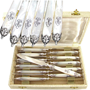 Elegant 12 Antique French Sterling Silver & Mother of Pearl Handled Knife Set, Knives