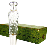 Antique French Sterling Silver Gilt Vermeil Cut Crystal Opera / Travel Liquor Flask, Original Box
