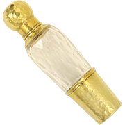 Antique French .800 Silver Gilt Vermeil Hammered Finish Liquor Flask, Faceted Cut Crystal