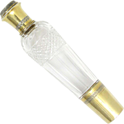 Antique French Sterling Silver Gilt Vermeil Cut Crystal Whiskey Liquor Flask, Lagriffoul & Laval