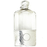 Antique Victorian English Sterling Silver Hammered Finish Cut Glass Liquor Whiskey / Whisky Hip Flask, London 1899