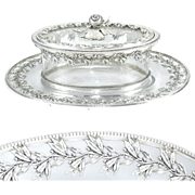 Ornate Antique French Sterling Silver & Cut Crystal Figural Butter Serving Dish
