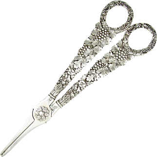 Antique Art Nouveau French ALL Sterling Silver Figural Grape Shears