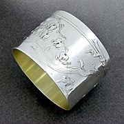 Ornate Antique French Sterling Silver 'Coeurs de Marie' Flowers Napkin Ring