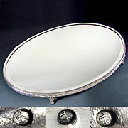 Large Antique French Silver Hallmarked Mirror Plateau Centerpiece, Lion Feet