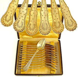 12 Antique French Sterling Silver Gilt Vermeil Coffee or Tea Spoons Set