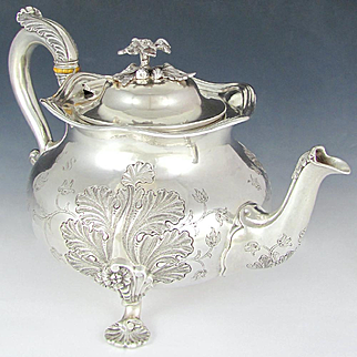 Antique French Sterling Silver Teapot / Coffee Pot, Large, Foliage & Shells