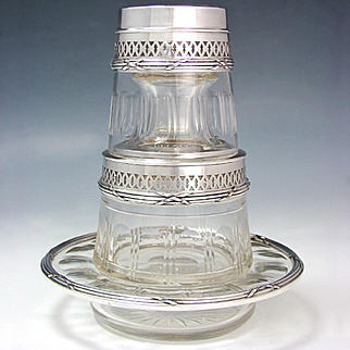 Antique French Sterling Silver Tumble Up Decanter, Cut Crystal Bedside Carafe Set