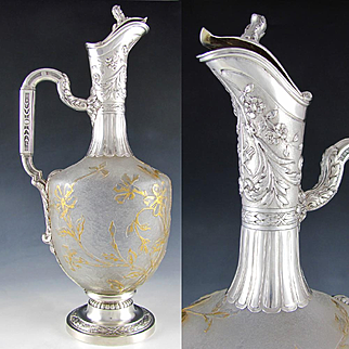 Antique Art Nouveau French Sterling Silver Cameo Glass Carafe, Claret Jug Decanter