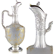 Antique Art Nouveau French Sterling Silver Cameo Glass Carafe, Claret Jug Decanter