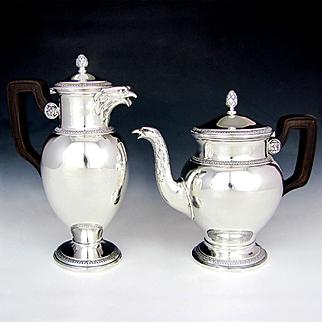 Boin-Taburet French Sterling Silver Empire Style Teapot & Coffee Pot, Eagle Head Spouts