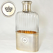 Antique French Sterling Silver Glass Liquor Whiskey Hip Flask by Gustave Keller, Engraved Crown