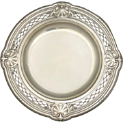 Antique French Sterling Silver Centerpiece Tazza / Footed Tray Repousse Sea Shells Motif & Pierced Lattice