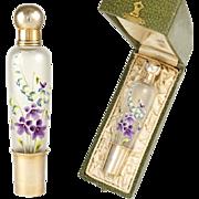 Antique French Sterling Silver Gilt Vermeil Glass Liquor 'Spirits' Flask in Box, Hand Painted Art Nouveau Floral Enamel