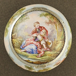 Antique French Kiln-Fired Enamel & Silver Hinged Snuff Box, Hallmarked Mounts, Couple & Pastoral Scene