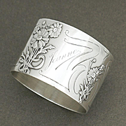 Antique French Sterling Silver Napkin Ring by Charles Murat, Raised Floral Decoration, Art Nouveau Sunflowers, 'Jeanne' Inscription