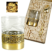 Antique French Sterling Silver Gilt Vermeil Art Nouveau Floral Engraved Glass Tumbler & Spoon Set in Box