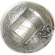 "Antique French PUIFORCAT Sterling Silver Tea / Coffee Cup & Saucer, Gilt Vermeil Interior, Floral Guilloche Decoration, ""Maurice"" Inscription"