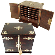 Antique Victorian Neo-Gothic Strapped Wood Cigar Caddy, Chest, Box