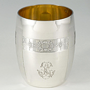"French .800 (nearly sterling) Silver Cup, Tumbler or ""Timbale"", Guilloche Engraving Flowers, Gilt Vermeil Interior"