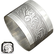 Antique French Sterling Silver Napkin Ring Art Nouveau Iris Flowers