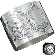 Antique French Sterling Silver Napkin Ring, Napoleon III Empire Swans, Scrolling Foliage & Flowers, Heavy 55.7g, In Box
