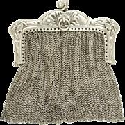 Antique Art Nouveau French .800 Silver Chain Mail Mesh Lady's Chatelaine Purse, Chrysanthemum Flowers Motif
